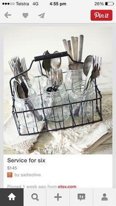 Table setting-mason jars silverware holder