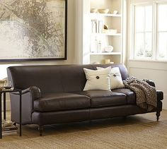 Carlisle Leather Sofa #potterybarn Leather + english roll arm.  Game changer? Or just fug? Don't like the color for one.
