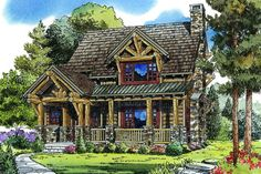 Plan 11535KN: 3 Bed Rustic Mountain Cabin Log Cabin Floor Plans, Cabin House Plans, Log Cabin Homes, Craftsman House Plans, Tiny Log Cabins, Small Cabins, Barn Plans, Cottage Homes, Craftsman Style