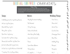 Page description: Looking for some awesome bridal shower games? We have some of the classics just for you! Fun Wedding Programs, Wedding Reception Games, Bridal Shower Party, Bridal Shower Decorations, Bridal Showers, Charades Words, Diy Wedding Projects, Wedding Ideas, Rustic Wedding