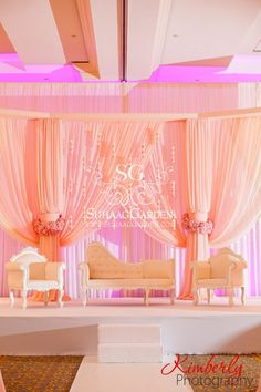 Suhaag Garden, Florida Indian Wedding Decorator, California Indian Wedding Decorator, Indian Destination Wedding Savannah, Indian Wedding, Savannah Trade & Conference Center, Fabric Mandap, Chandelier Mandap, Blush Pink, Open Fabric Stage, Tampa Waterside Hotel & Marina Florida, Stage Furniture