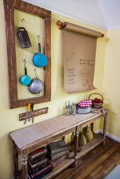 We just can't get enough of the modern country look in the kitchen! Transform your kitchen w/ @kennethwingard 3 easy DIYs: Butcher Paper Memo Board, Chicken Wire Notions holder & Knife Rack!  Catch #homeandfamily weekdays at 10/9c on Hallmark Channel!