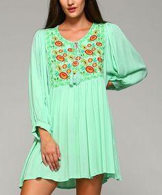 Look at this #zulilyfind! Mint Embroidered-Bodice Wide-Sleeve Dress #zulilyfinds