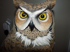 """SIGNED 22"""" Wood Carving LIFE SIZE HORNED OWL Glass Eyes Richard A. Palmer 1994"""