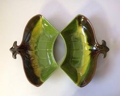 Lazy Susan Candy Dish or Ashtrays in Olive. by BlkBttrflyDsgns