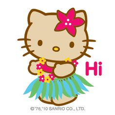 HK |❣| HELLO KITTY 'Hi' Emoticon Graphic