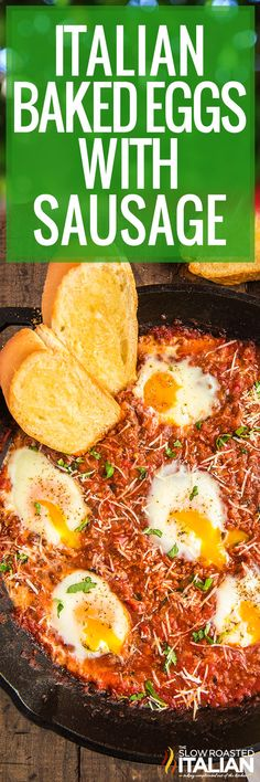 Baked eggs with sausage in a cheesy tomato sauce tastes even better than it smells. Make this easy one pan meal for a hearty weekend brunch! #BakedEggs #ItalianBakedEggs #Sausage #Breakfast #Brunch Recipes Using Pork, Easy Egg Recipes, Real Food Recipes, Delicious Recipes, Breakfast Recipes, Dinner Recipes, Sausage Breakfast, Breakfast Ideas, Dinner Ideas