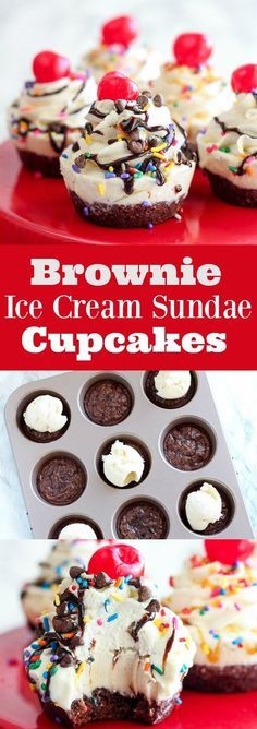"Fudgy brownies topped with vanilla ice cream, whipped cream, hot fudge, caramel, sprinkles, and more! These ice cream sundae ""cupcakes"" are made in a muffin tin. This is a fun individual dessert for adults or kids!"
