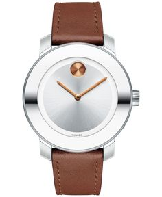 Movado Women's Swiss Bold Cognac Leather Strap Watch 36mm 3600379