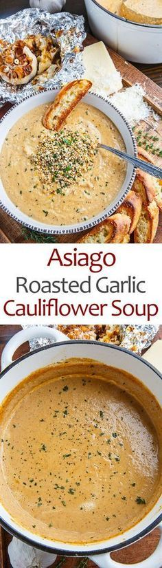 Asiago Roasted Garlic Cauliflower Soup - This is a super simple soup where you roast up the cauliflower and a few heads of garlic and make a soup with them along with plenty of melted asiago cheese! O (Soup And Sandwich Recipes) I Love Food, Good Food, Yummy Food, Tasty, Yummy Snacks, Vegetarian Recipes, Cooking Recipes, Healthy Recipes, Vegetarian Stew