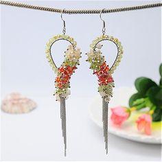 [US $3.90]EJEW-PJE067-1 - Handmade Glass Earrings, With Iron Chains And Iron Earrings Hooks, DarkOrange, 110x24mm