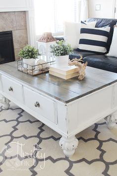 Farmhouse Style Coffee Table Makeover {Before And After}