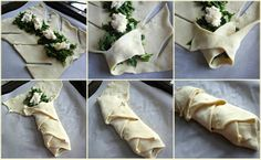 "Spinach brie and puff pastry ""braids"". This looks easy!"