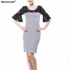 5404789a45 HimanJie retro Sexy Koronki paski patchwork Sukienki Koreański Kobiet raca  połowa Rękawem O-neck slim