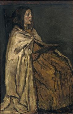 """A Girl Reading. Suze Robertson (Dutch, 1855-1922). Oil on canvas.  Robertson continued her studies at the Art Academy in Rotterdam. Here she created upheaval when she insisted on being admitted to the """"Naaktklasse"""" (drawing of nude models). Robertson refused to be turned away. The result of her tenacity is later clearly visible in her work: her human figures, mostly women in daily life, are pictured with striking natural resemblance."""
