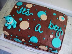 Baby boy shower pleasant little man baby shower cake ideas with baby shower cakes images pictures Baby Shower Sheet Cakes, Baby Shower Cupcakes For Boy, Cupcakes For Boys, Baby Boy Cakes, Baby Shower Desserts, Girl Cakes, Baby Boy Shower, Baby Showers, Diy Baby Shower Centerpieces