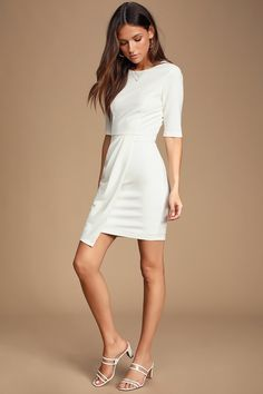 Sass and class come together perfectly with the Lulus Westwood White Half Sleeve Sheath Dress! Sheath dress with crewneck, half sleeves, and overlapping skirt. White Dresses For Women, Little White Dresses, White Maxi Dresses, Dresses For Teens, Dresses For Sale, Dresses For Work, Grad Dresses, Modest Dresses, Half Sleeve Dresses