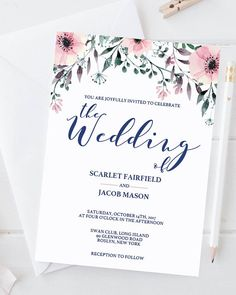 Give the perfect first statement of your big day to your friends and family with this pink floral wedding invitation. Simply download, edit and print! Not sure if a printable template is right for you? Try it out first and decide if youre up for it! Download our sample template here:
