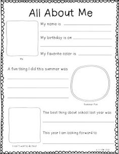 Writing activity for your students at the beginning of the year.  Would make a great class book!  Free!