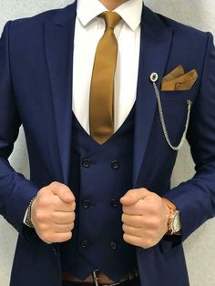 Details about navy blue slim fit wedding groom tuxedos men s 3 pieces suit 2 buttons jacket 26 dope blue suit outfit ideas for every occasion Blue Suit Outfit, Blue Suit Men, Men's Blue Suits, Suit For Man, Man Suit Style, Royal Blue Suit, Black Suits, Blue Suit Wedding, Wedding Groom