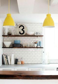 white tiles, shelves and yellow lamp shades Decor, Kitchen Interior, Kitchen Inspirations, Interior, Interior Inspiration, Home Decor, House Interior, Yellow Pendant Light, Home Kitchens