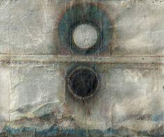 Herbert Pföstl (Austrian, b. Graz, Austria) - Of Deposited Lands from Paper Graveyard, 2013 Mondkreis from Paper Graveyard, 2013 Graphic Arts Circle Art, Encaustic Art, Letterpress Printing, Muted Colors, Art Sketchbook, Artwork Prints, Printmaking, Art Drawings, Abstract Drawings
