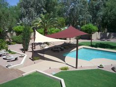 Sun sail shades for some area around pool