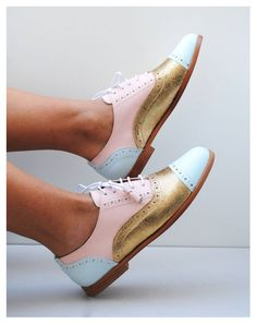 Original ABO pink, gold and baby blue wingtips