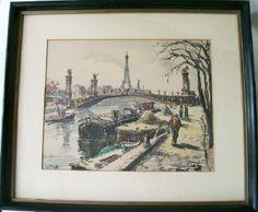 Vintage Parisian Framed Print-Antique Artist Signed Paris France Print Art Gallery Philadelphia  via BellaRosaAntiques.com