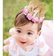 7 Colors Newborn Baby Birthday Crown Headband Flower Lace Gold Tiara Headband for Baby Girls Party Hiar Band Accessories Gifts - FASHION BookFace - Leading Global Online Shopping SitePrincess Girl Head Accessories 2018 Baby Newborn Hairband Baby Hair Princess Girl, Princess Birthday, Princess Crowns, Baby First Birthday, Girl Birthday, Diy Birthday Crown, Birthday Tiara, Birthday Crowns, Birthday Gifts