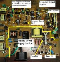 Secrets of Smps repair and troubleshooting the fast way Electronics Basics, Electronics Components, Electronics Projects, Electronic Circuit Design, Electronic Engineering, Electrical Engineering, Electrical Circuit Diagram, Electrical Wiring, Sony Led Tv