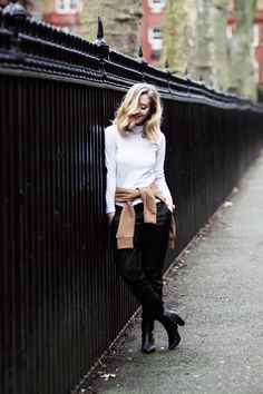 FRAMBOISE FASHION by Sarah Mikaela: wearing The Kelsey Trouser in Leatherette Super Black