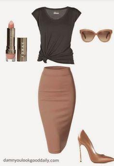 Fall Fashion: Grey T-Shirt and Pencil Skirt : Casually Sexy, loo...