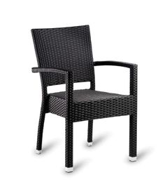 Outdoor Ebony Wicker Arm Chair