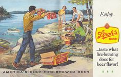 Great Fishing Michigan Vintage Stroh's Beer Ad...Fire Brewed! Dad used to work there back in the day!