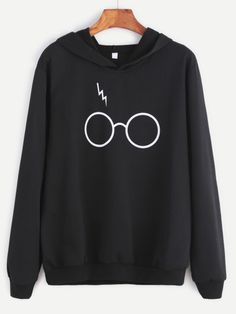 Shop Black Eyeglass Print Hooded Sweatshirt online. SheIn offers Black Eyeglass Print Hooded Sweatshirt & more to fit your fashionable needs.