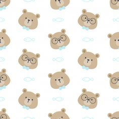 Cute Bear With Glasses And Bow Tie Seamless Pattern Background Code Wallpaper, Cute Tumblr Wallpaper, Wallpaper Iphone Cute, Pattern Wallpaper, Dibujos Baby Shower, Baby Room Decals, Roblox Pictures, Unique House Design, Flower Doodles