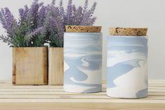 Cookie Jars & Sugar Bowls – Ceramic jar with a cork lid in light blue & white – a unique product by Yaara-landau-katz via en.DaWanda.com