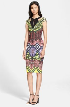 Just #Cavalli Illusion Cutout Print Jersey #Dress