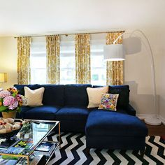 Living Room Blue, White and Yellow
