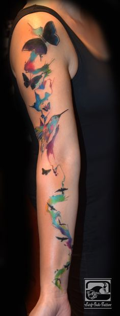 Watercolour BirdsTattoo, Surf-Ink-Tattoo,Watercolor Tattoo,Aquarell Tattoo
