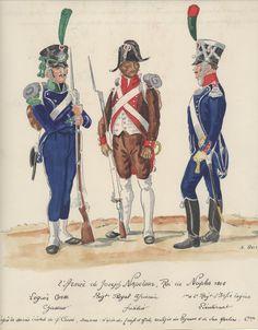 Naples; Legion Corse, Chasseur, Regiment Royal Africain, Fusilier, & 1st or 2nd Light Infantry, Lieutenant, 1806 by H.Boisselier