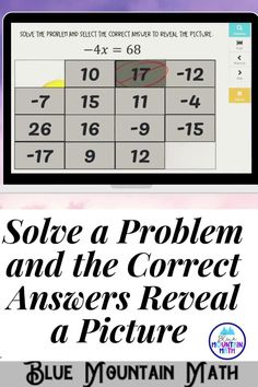 Are you looking for an interactive and self-correcting resource to practice solving one variable equations with your students? There are 16 digital task cards covering solving one step equations. Students start with the picture totally covered by the answer boxes. As they answer each question correctly, more and more of the covered picture is revealed.