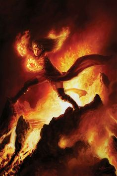 Chandra, Pyromaster MtG Art from - Core Set Set by Winona Nelson Fantasy Inspiration, Character Inspiration, Character Art, Fantasy Kunst, Fantasy Art, Dungeons And Dragons, Mtg Planeswalkers, Magia Elemental, Elemental Magic