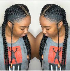 Feedin braids #goddessBraided Feed In Braids Hairstyles, Braids Hairstyles Pictures, Braided Hairstyles For Black Women, 2 Feed In Braids, Kid Hairstyles, 2 Big Braids, 2 Braids With Weave, Quick Braided Hairstyles, Tree Braids