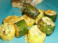 Roast zucchini, yellow squash. Toss with 1 Tbsp olive oil, sea salt, pepper.  Spread on baking sheet, sprinkle with Parmesan. 450 for 20 minutes.