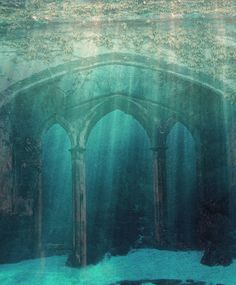 Abandoned Under The Sea. This is like something out of the Little Mermaid! Abandoned Mansions, Abandoned Buildings, Abandoned Places, Sunken City, Underwater City, Lost City, Pics Art, Ancient Egypt, Architecture