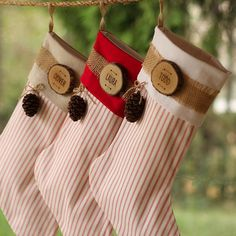 Listing is for ONE stocking. Choose your desired quantity when ordering. This assortment of flannel, Multicam, and pillow ticking stockings will bring a cozy outdoor feeling to your hearth this holiday season. Sewn with a sturdy lining and a jute loop for hanging. These are made to