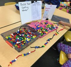 Easy center idea:  string letter beads on pipe cleaners. Copy spelling list!