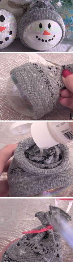 DIY Sock Snowman Ornaments.